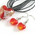 PE159 LAMPWORK GLASS RED HEART PENDANT EARRINGS SET 300 SETS