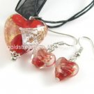 PE160 LAMPWORK GLASS RED HEART PENDANT EARRINGS SET 300 SETS