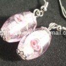 GER014 LAMPWORK GLASS PINK ROSE DANGLE EARRINGS 300 PAIRS