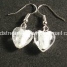GER029 LAMPWORK GLASS SNOW WHITE HEART SILVER DANGLE EARRINGS 300 PAIRS