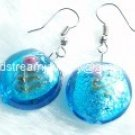GER040 LAMPWORK GLASS TURQUOISE ROUND DANGLE EARRINGS 300 PAIRS