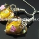 GER060 LAMPWORK GLASS GOLDEN HEART EARRINGS 300 PAIRS