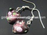 GER061 LAMPWORK GLASS PP ROSE HEART EARRINGS 300 PAIRS