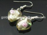 GER062 LAMPWORK GLASS SMOKY ROSE HEART EARRING 300 PAIRS