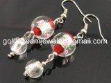GER082 LAMPWORK GLASS RED DANGLE EARRINGS 300 PAIRS