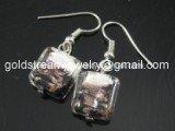 GER084 LAMPWORK GLASS BI COLOR GRID DANGLE EARRINGS 300 PAIRS