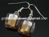 GER085 LAMPWORK GLASS BI COLOR GRID DANGLE EARRINGS 300 PAIRS