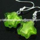 GER094 LAMPWORK GLASS GREEN STAR DANGLE EARRINGS 300 PAIRS