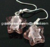 GER095 LAMPWORK GLASS MAUVE STAR DANGLE EARRINGS 300 PAIRS