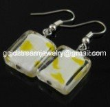 GER097 LAMPWORK GLASS GRID DANGLE EARRINGS 300 PAIRS