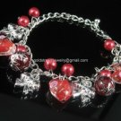 DB450 MURANO STYLE LAMPWORK GLASS RED SILVER CHARM BRACELET 300 PCS