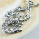 AP224 CLEAR RHINESTONE SCORPION SILVER PLATED PENDANT 300 PCS