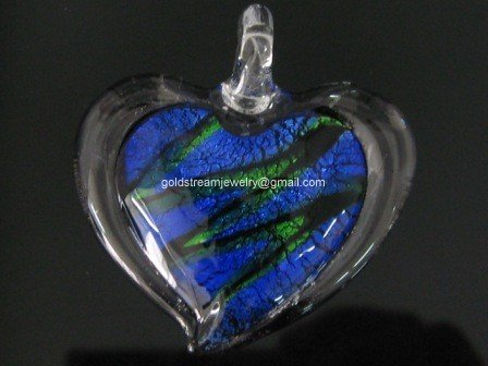 GP1016 LAMPWORK GLASS SILVER FOIL BICOLOR HEART PENDANT 300 PCS