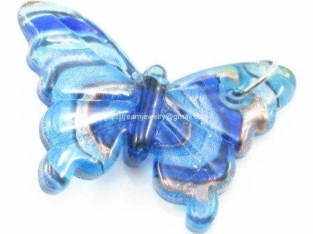 GP1031 LAMPWORK GLASS BLUE SWIRL BUTTERFLY PENDANT 300 PCS