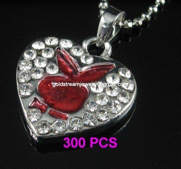 A1289 RED RHINESTONE PLAYBOY SILVER PENDANT NECKLACE 300 PCS