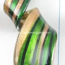 GP1321 LAMPWORK GLASS OLIVE GREEN GOLD SAND TWISTER PENDANT 300PCS