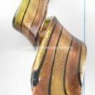 GP1322 LAMPWORK GLASS BROWN GREEN GOLD SAND TWISTER PENDANT 300PCS