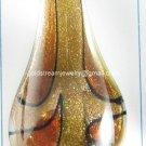 GP1326 LAMPOWKR GLASS  ORANGE BROWN GOLD SAND LEAF PENDANT 300PCS