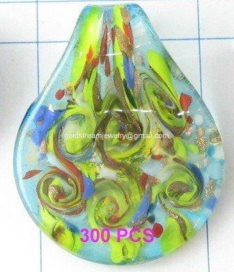 GP1341 LAMPWORK GLASS BLUE GOLD FOIL LEAF PENDANT 300PCS