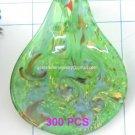 GP1343 LAMPWORK GLASS GREEN GOLD FOIL LEAF PENDANT 300PCS