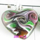 GP1305 LAMPWORK GLASS TOPAZ HEART PENDANT 300PCS