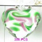 GP1306 LAMPWORK GLASS WHITE GREEN HEART PENDANT 300PCS