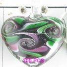 GP1307 LAMPWORK GLASS DARK PURPLE HEART PENDANT 300PCS