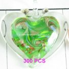 GP1308 LAMPWORK GLASS GREEN HEART PENDANT 300PCS