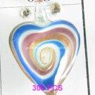 GP1314 LAMPWORK GLASS WHITE SWIRL HEART PENDANT 300PCS
