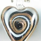 GP1316 LAMPWORK GLASS BLACK WHITE SWIRL HEART PENDANT 300PCS