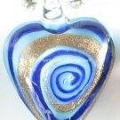 GP1317 LAMPWORK GLASS BLUE NAVY SWIRL HEART PENDANT 300PCS