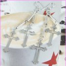 "AE561 SILVER PLATED LONG DANGLE CROSS EARRINGS 3"" 300 PAIRS"