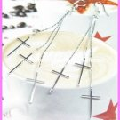 "AE639 CROSS SILVER LONG DANGLE EARRINGS 3.75"" 300 PAIRS"