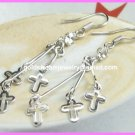 "AE632 CROSS RHINESTONE SILVER EARRINGS 2.25"" 300 PAIRS"