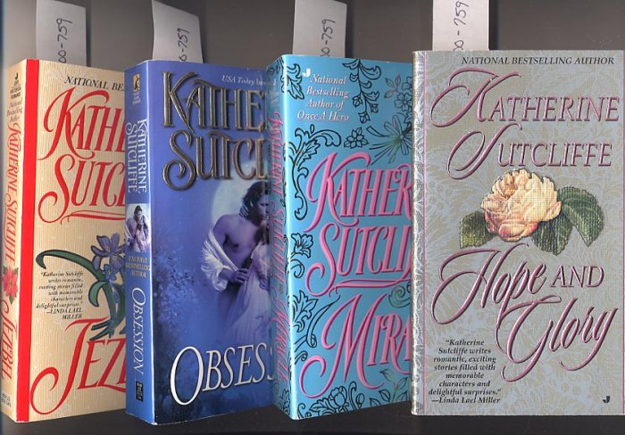 Lot of 4 Katherine Sutcliffe Miracle, Obsession, Jezebel, Hope and Glory PB