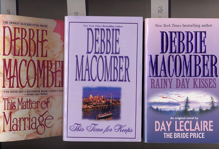 Lot of 3 Debbie Macomber This Matter of Marriage, This Time for Keeps, Rainy Day Kisses PB