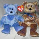 Set of 2 Clubby the Bear and Clubby III the Bear Ty Beanie Babies