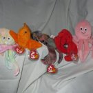 Set of 5 Inky, Pinchers, Goochy, Claude, Goldie Ty Beanie Babies