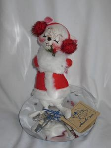 Annalee White Mouse on Ice Skates 1993 7 inches