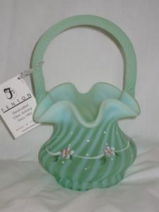 Set Fenton Art Glass Set of Basket and Bell Dotted Swiss on Willow Green
