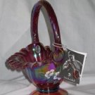 Fenton Art Glass Red Carnival Ribbed Basket
