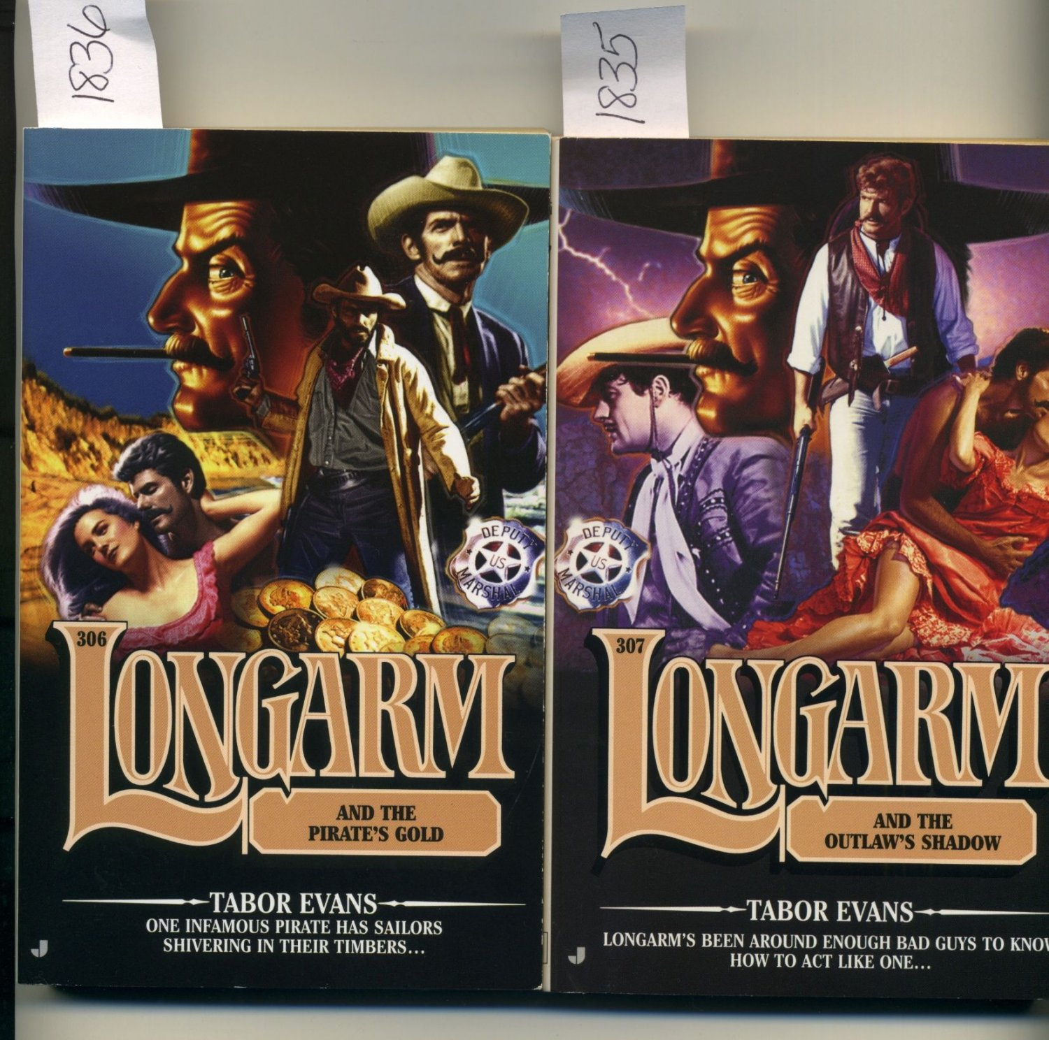 Lot of 2 Longarm #306 Pirate's Gold and #307 Outlaw's Shadow Tabor Evans Western Paperbacks