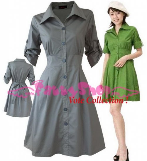 """XXXL*GRAY*Dress ((VOTE Collection)) Tie knot behind Cotton+Spendex Side 2F 46"""" chest*FREE SHIP!!"""