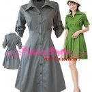 "XXXXL*GRAY*Dress ((VOTE Collection)) Tie knot behind Cotton+Spendex Side3F 50"" chest*FREE SHIP!!"