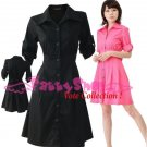 "XXXL*BLACK*Dress ((VOTE Collection)) Tie knot behind Cotton+Spendex Side2F 46"" chest*FREE SHIP!!"
