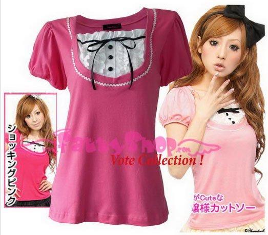 "XXXL*PINK*T-shirt ((VOTE Collection)) chest drain & knot INTERIOC COTTON 2F 46"" chest*FREE SHIP!!"