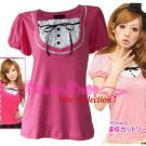 "XXXL*PINK*T-shirt ((VOTE Collection)) chest drain & knot INTERIOC COTTON 2F 46"" chest*FREE SHIP!!"