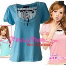 "XXL*BLUE*T-shirt ((VOTE Collection)) chest drain & a knot INTERIOC COTTON 1F 42"" chest*FREE SHIP!!"