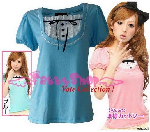 "XXXL*BLUE*T-shirt ((VOTE Collection)) chest drain & knot INTERIOC COTTON 2F 46"" chest*FREE SHIP!!"