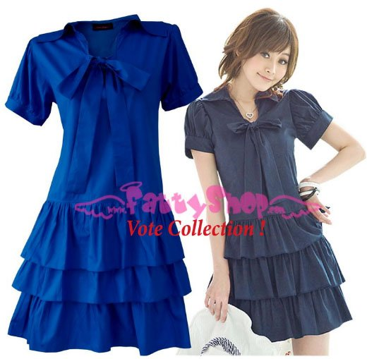 XXXL*BLUE*Dress ((VOTE Collection)) 3step drain+neck knot Cotton Com 2F 46 inch chest*FREE SHIP!!